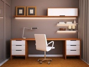 Modern Minimalistic White and Wooden Brown Desk