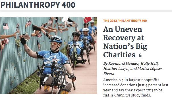 Screen Shot of Philanthropy 400 Article