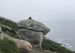 Small rock formation stacked on top of a larger rock